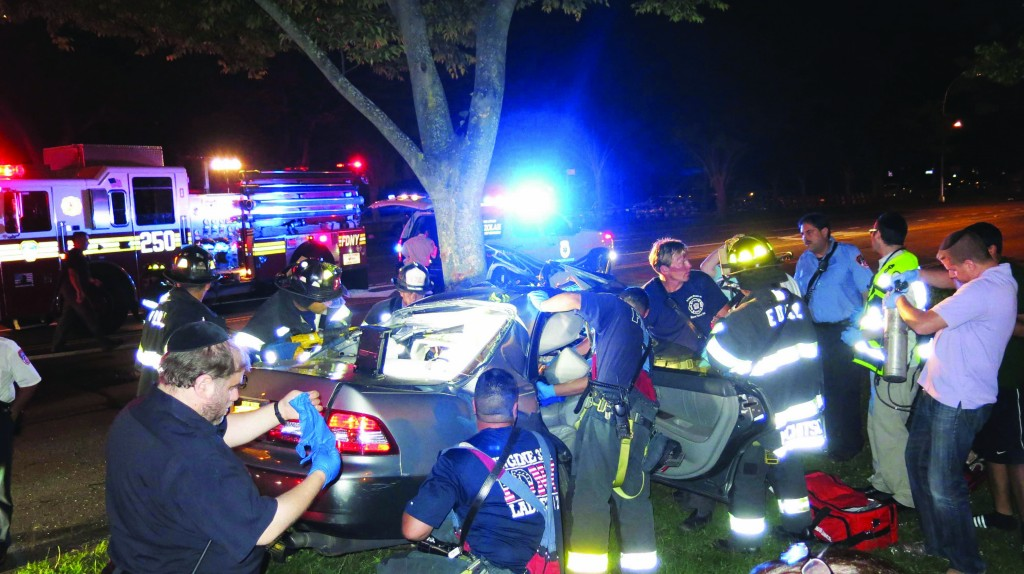 The scene of a fatal accident on Ocean Parkway in Brooklyn, Sunday. Ocean Parkway is reportedly experiencing a dramatic increase in accidents recently. (Heshy Rubinstein/Dee Voch)