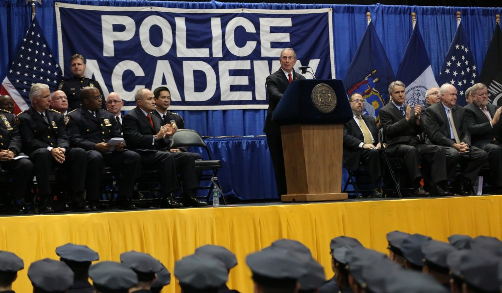 Mayor Michael Bloomberg welcomes the July 2013 New York City Police Academy class Tuesday at Barclays Center.(Office of the Mayor)