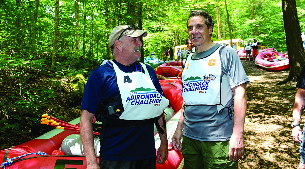 Gov. Andrew Cuomo (R) at the Adirondack Challenge Festival in Indian Lake Sunday, a day before he is set to race against other state officials. (Office of the Governor)