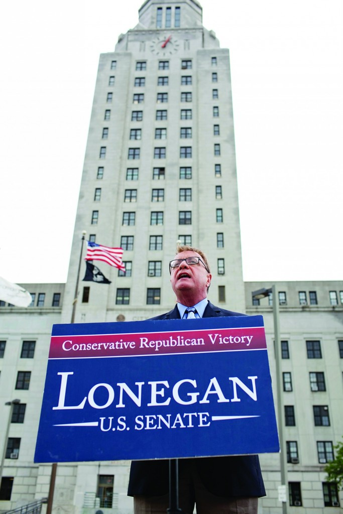 Republican U.S. Senate candidate Steve Lonegan speaks at the foot of Camden City Hall on Friday. (AP Photo/Courier-Post-Douglas Bovitt)