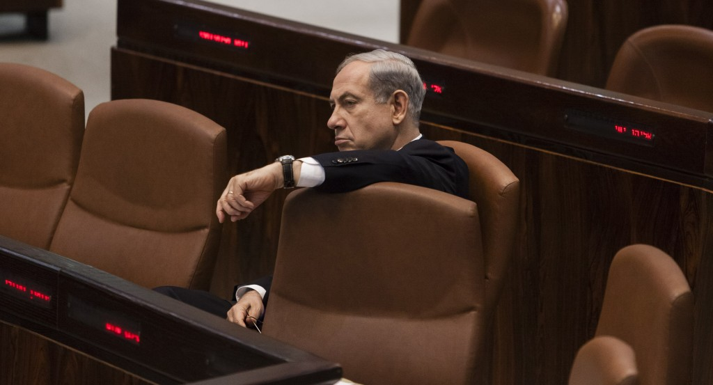 Israel's Prime Minister Binyamin Netanyahu seen in the Knesset on Tuesday. (Flash 90)