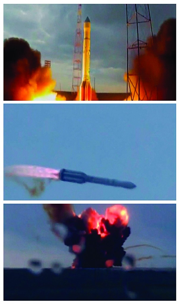 A combination photograph shows still frames taken from a video of an unmanned Russian Proton-M booster rocket, as it launches, veers off course and crashes (top to bottom) in Baikonur, Tuesday. (REUTERS/Pool via Reuters TV)