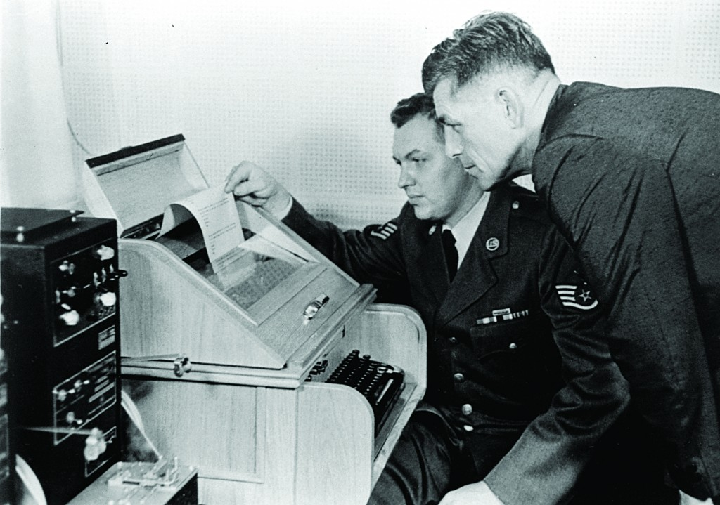 On Aug.30, 1963, the White House Kremlin hotline providing direct communication for emergency use by the Chief of Staff in Washington and Moscow, became operational. Air Force Sgt. John Bretoski (L), and Army Lt. Col. Charles Fitzgerald, man the equipment in the Pentagon during a test run.(AP Photo, File)
