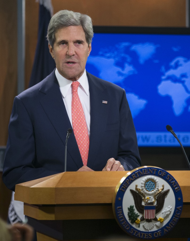 Secretary of State John Kerry speaks at the State Department in Washington, Monday, about the situation in Syria. Kerry said chemical weapons were used in Syria, and accused Assad of destroying evidence. (AP Photo/Manuel Balce Ceneta)