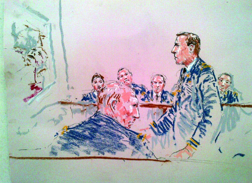 A courtroom sketch shows Army Staff Sergeant Robert Bales (front) during his sentencing as prosecutor Lieutenant Colonel Jay Morse (standing) speaks to the jury at Joint Base Lewis-McChord near Tacoma, Washington, on Friday. (REUTERS/Peter Millett)
