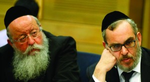 UTJ MKs Rabbi Menachem Eliezer Moses (L) and Rabbi Yaakov Asher at a Knesset committee discussion on the integration of chareidim into mainstream Israeli society. (FLASH90)