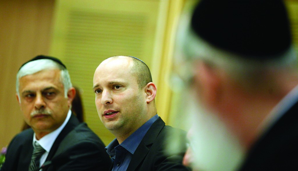 Economy and Trade Minister Naftali Bennett (Jewish Home) speaking at the Knesset on Tuesday. (FLASH90)