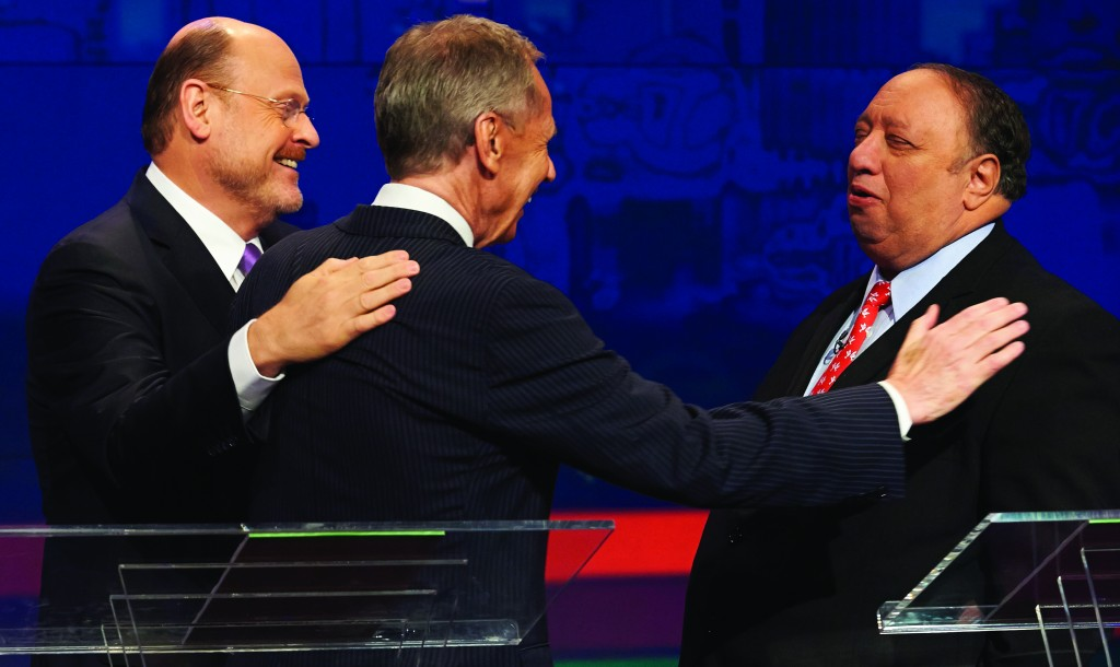 From left, New York City Republican mayoral candidates, Joe Lhota, George McDonald, and John Catsimatidis greet each other after a primary mayoral debate Friday. (AP Photo/New York Daily News, James Keivom)