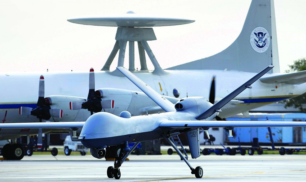 A Predator B unmanned aircraft taxis at the Naval Air Station in Corpus Christi, Texas, in this file photo. (AP Photo/Eric Gay, File)