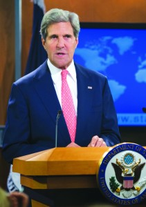 Secretary of State John Kerry speaks at the State Department in Washington, Monday, about the situation in Syria. (AP Photo/Manuel Balce Ceneta)
