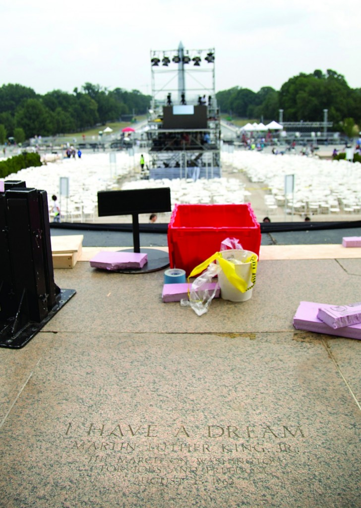 "The exact location where Rev. Martin Luther King Jr. gave his famous ""I Have a Dream"" speech is marked at the Lincoln Memorial, foreground, in Washington, Tuesday. (AP Photo/Carolyn Kaster)"
