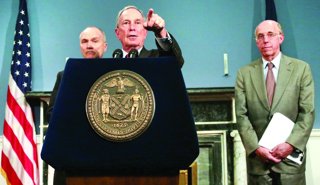 Mayor Michael Bloomberg at a press conference Monday following the federal court decision declaring the stop-and-frisk police tactic discriminatory, with Police Commissioner Raymond Kelly (L) and Michael Cardozo, the city's counsel. (Edward Reed/Office of the NYC Mayor)