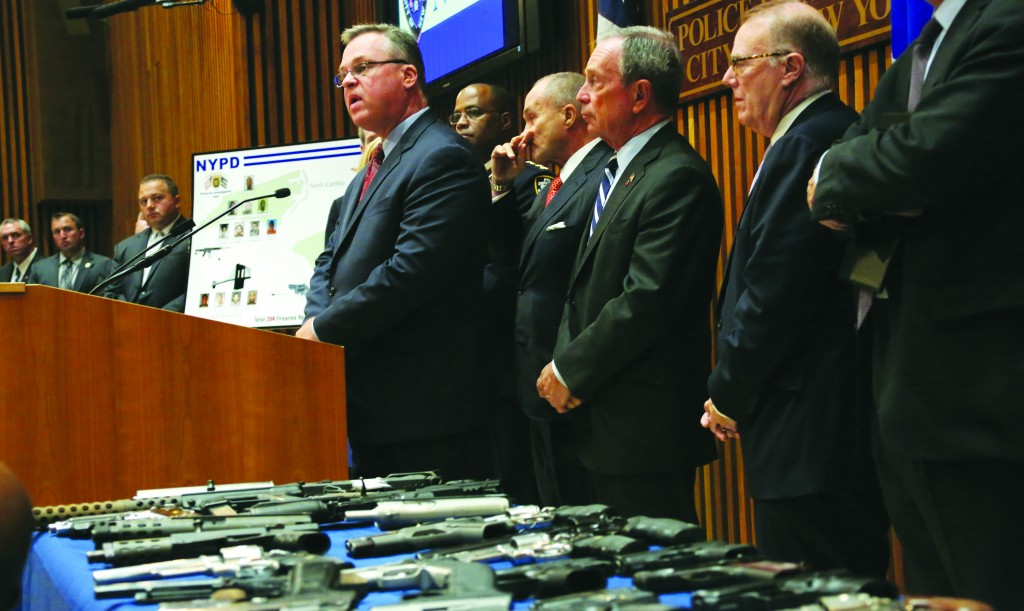 Mayor Michael Bloomberg on Monday announced the largest seizure of illegal guns in city history with Police Commissioner Ray Kelly and other officials. (Spencer T. Tucker)