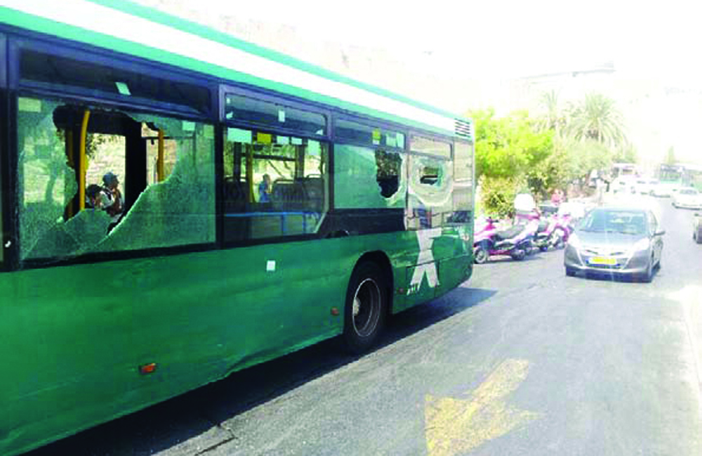 The No. 1 Egged bus, damaged by Arab rock throwers. (Elchanan Ackerman/Chadashot 24)