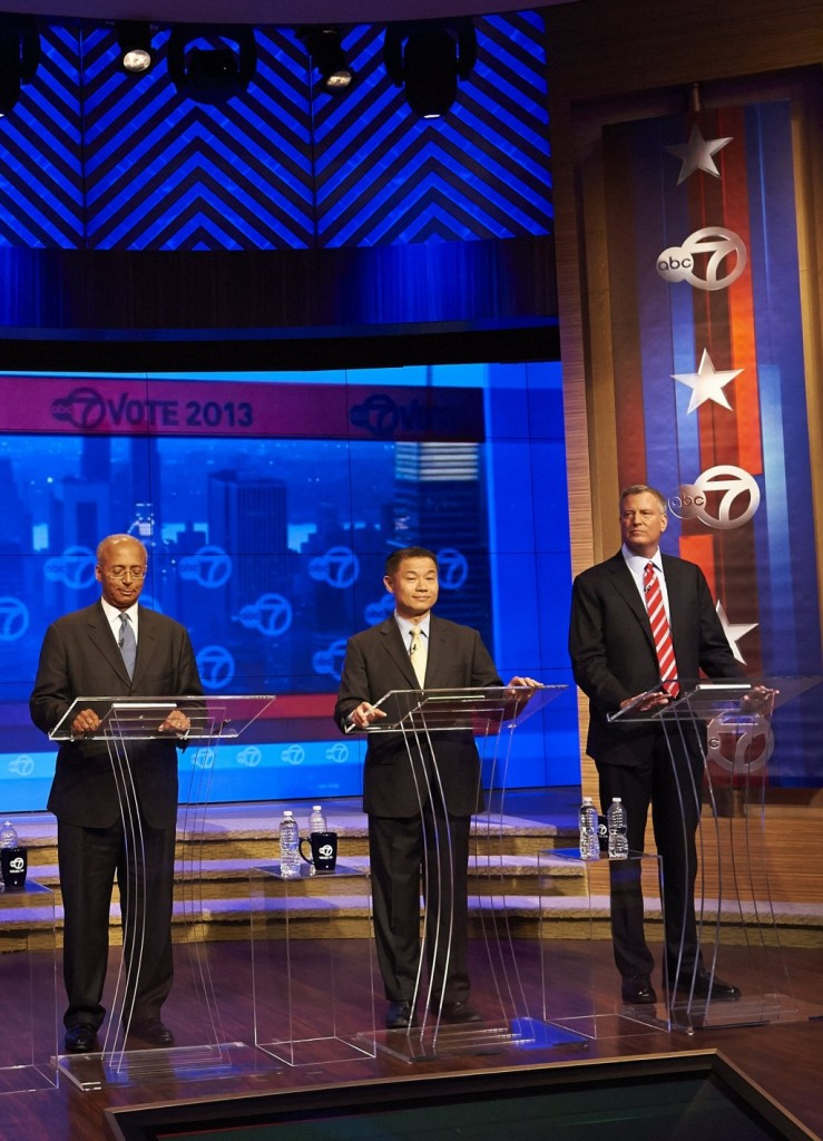 Bill Thompson, John Liu and Bill de Blasio at the first primary debate in the WABC/Channel 7 studios on Tuesday. (AP Photo/New York Daily News, James Keivom)