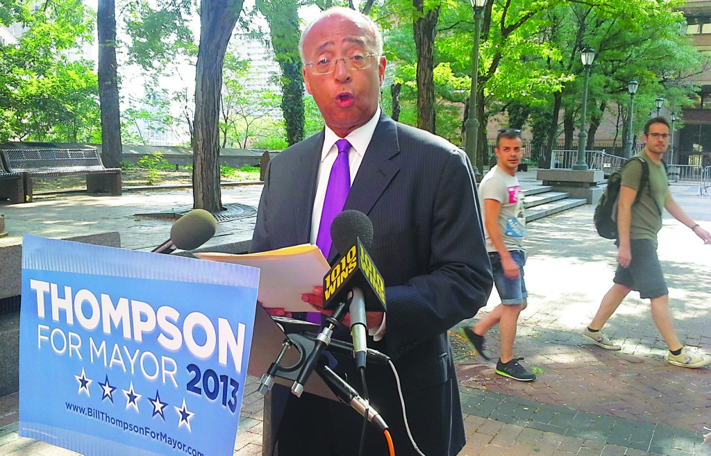 Bill Thompson at a press conference on police tactics at One Police Plaza Tuesday morning. (Ross Barkan/Politicker)