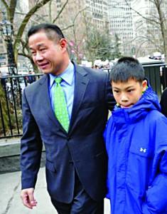 John Liu with his 12-year-old son Joey.