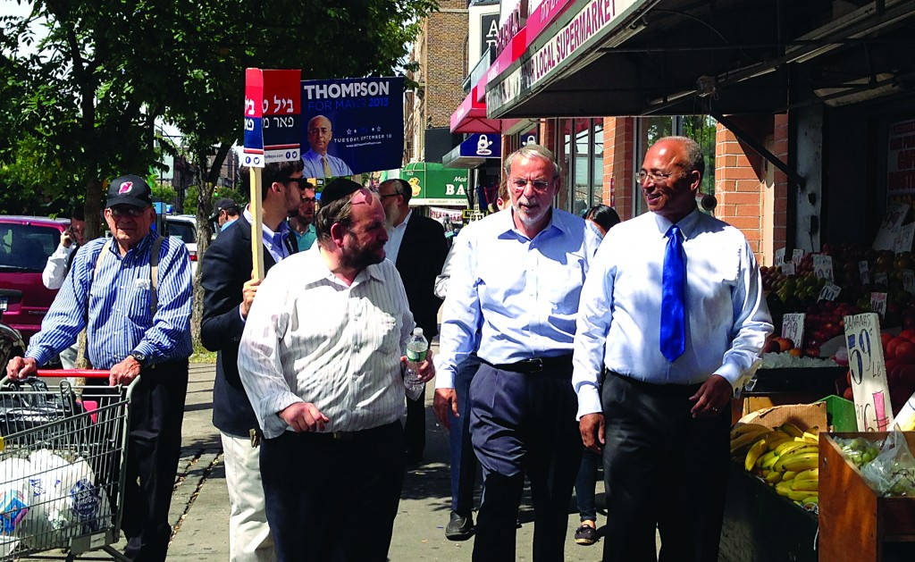 "Bill Thompson on a ""Shabbos Walk"" on Friday afternoon, greeting shoppers on Avenue J and E. 13th Street along with Assemblyman Dov Hikind."