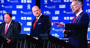 Republican mayoral candidate George McDonald (R) speaks during Wednesday night's debate with John Catsimatidis (L), and Joe Lhota (C).(AP Photo/Craig Ruttle)