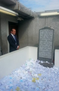 """Councilman Peter Vallone, a candidate for Queens borough president, visiting the Ohel of the Lubavitcher Rebbe, zt""""l, Tuesday."""