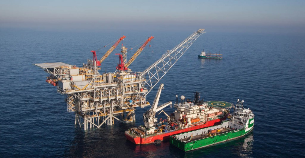 An aerial view of the 'Tamar' gas rig, situated about 50 miles off the northern coast of Israel. (Albatross Aerial photography/Nobel Energy/FLASH90)