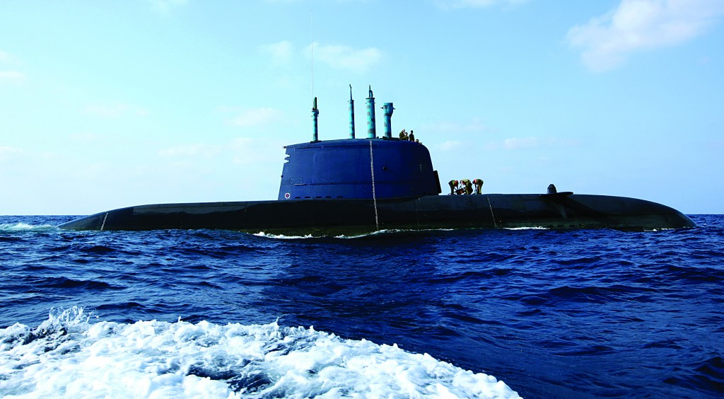An Israeli navy Dolphin-class submarine seen off the coast of Haifa. The Dolphin is a diesel-electric submarine which was developed and constructed in Germany for the Israeli Navy's specific needs and is rated among the most sophisticated and powerful in the world. (Moshe Shai/FLASH90)