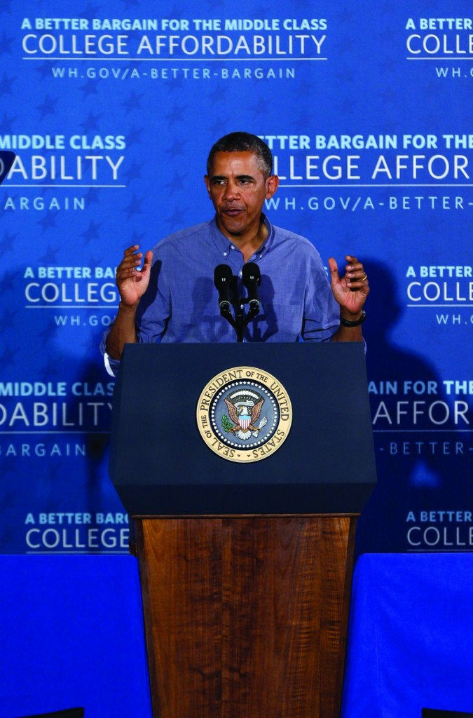 President Obama on Thursday speaks about affordable college education at Henninger High School in Syracuse, NY. (AP Photo)