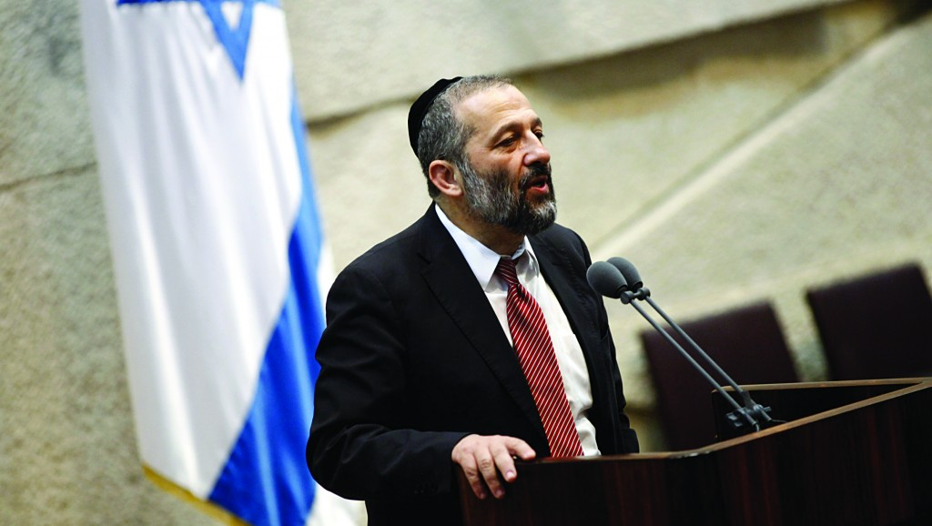 Shas party leader Aryeh Deri addressing the Knesset plenum. (FLASH90)