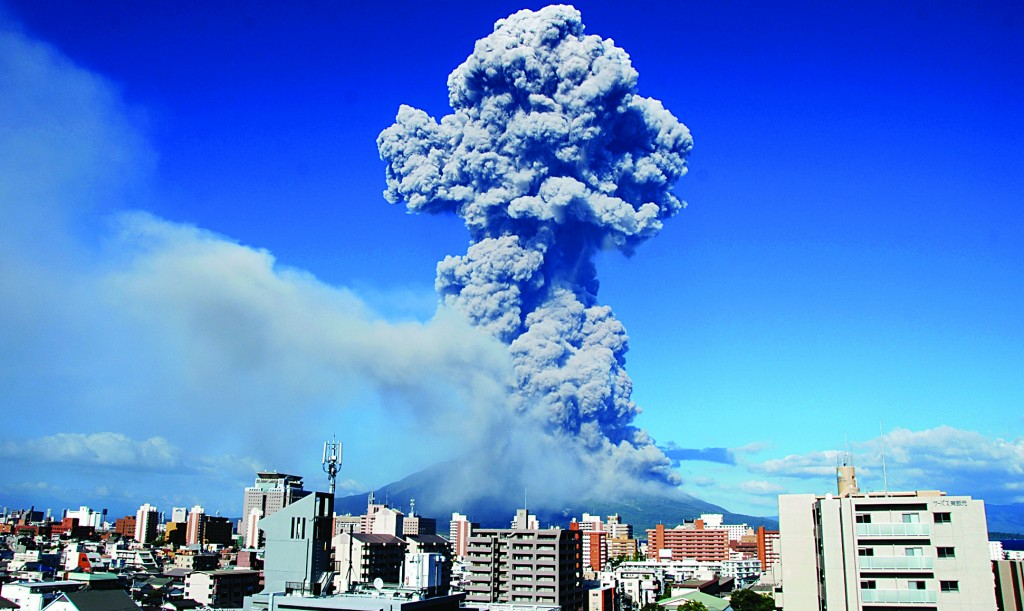 Volcanic smoke billows from Mount Sakurajima in Kagoshima, on the southern Japanese main island of Kyushu. The Japanese news agency Kyodo reported that it erupted Sunday evening for the 500th time this year. The mountain is 1,117 meters (3,686 feet) high and is one of Japan's most active volcanoes. There was no immediate report of injuries. (AP Photo/Kagoshima Local Meteorological Observatory)