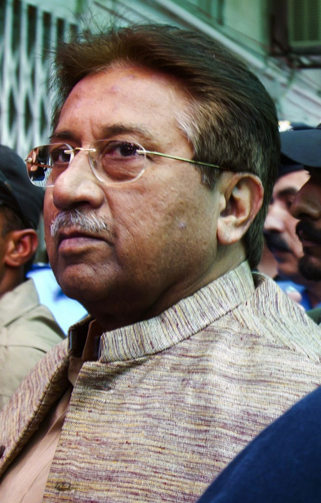 Pakistan's former President and military ruler Pervez Musharraf arrives at an anti-terrorism court in Islamabad, Pakistan in this April 20 photo. (AP Photo/Anjum Naveed, File)