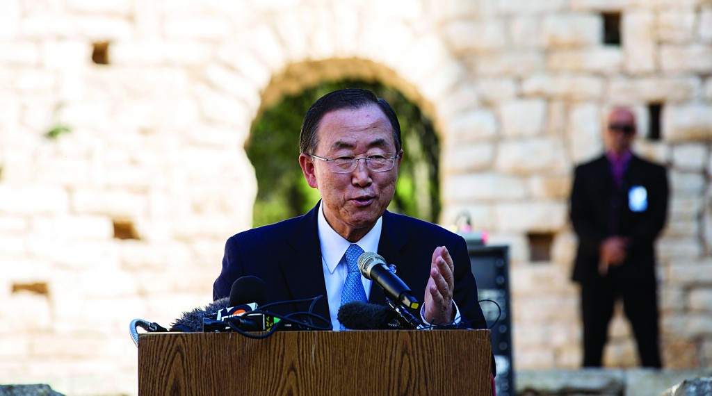 U.N. Secretary-General Ban Ki-moon speaking in Yerushalayim on Friday. Ban expressed his concern about Israeli building over the Green Line. (REUTERS/Baz Ratner)