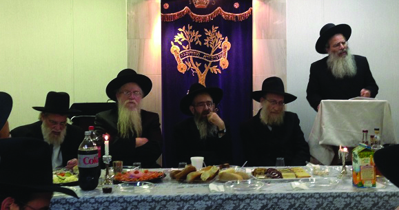 """At the hachtarah of Harav Pinchos Brody as the new Rav for the Spruce Street Shul in Lakewood on Motzoei Shabbos. Rabbi Brody, a R""""M at Edison Yeshivah, will serve as the Rav for the kehillah of approximately 75 families. Harav Malkiel Kotler and Harav Shalom Kamenetzky spoke at the melaveh malkah event.(TheLakewoodScoop.com)"""
