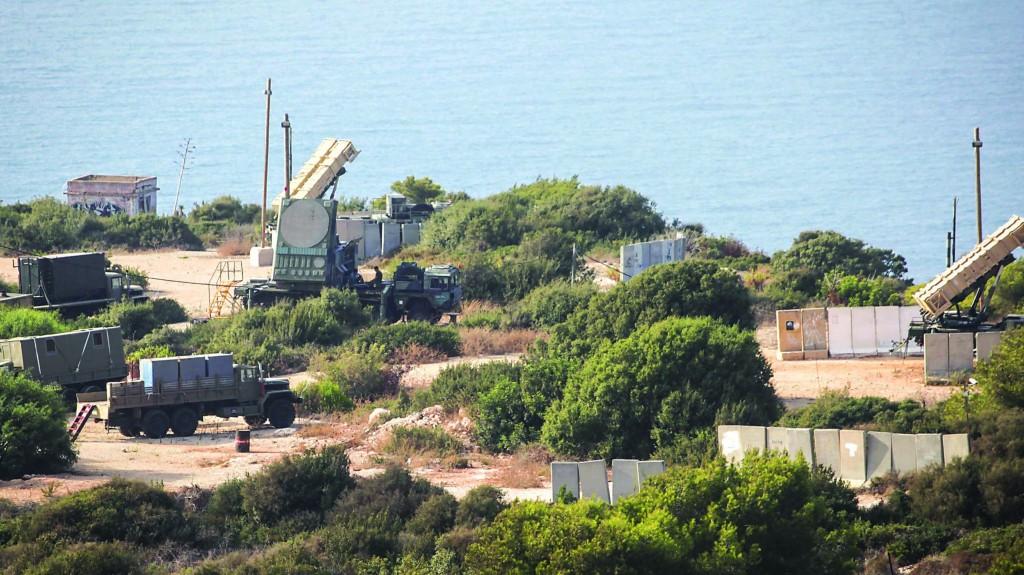 A Patriot missile battery deployed in Haifa on Thursday. (Avishag Shaar Yashuv/Flash90)