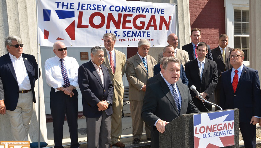 Rep. Chris Smith, State Sen. Robert Singer, Lakewood Committeeman Menashe Miller and other Ocean County Republicans on Wednesday endorse Steven Lonegan for U.S. Senate on the steps of the County Courthouse in Toms River.