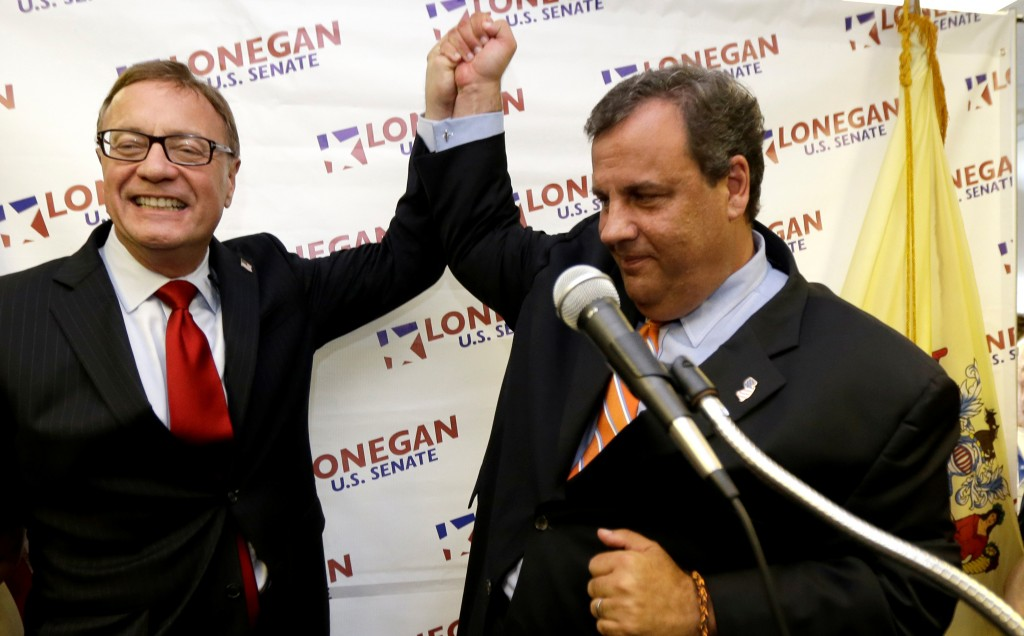 New Jersey Gov. Chris Christie (R) and Steve Lonegan during a news conference in which Christie announced his endorsement of Lonegan's bid for the U.S. Senate, Tuesday. (AP Photo/Julio Cortez)
