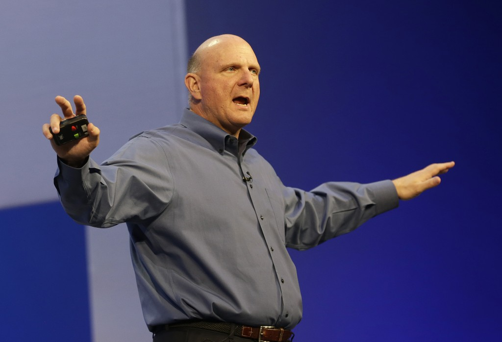 Microsoft CEO Steve Ballmer speaks at a Microsoft event in San Francisco, Wednesday, June 26, 2013. (AP Photo/Jeff Chiu)