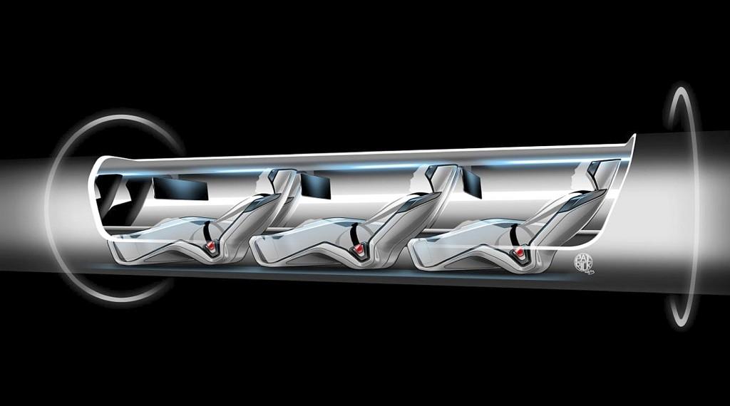An image released by Tesla Motors, is a sketch of the Hyperloop capsule with passengers onboard. (AP Photo/Tesla Motors)