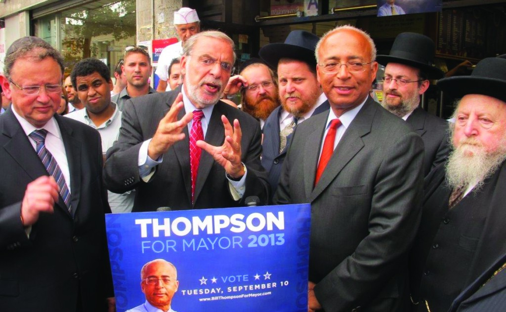 Assemblyman Dov Hikind endorsing Bill Thompson for mayor Thursday in front of Amnon's pizza shop on 13th Avenue. (JDN)