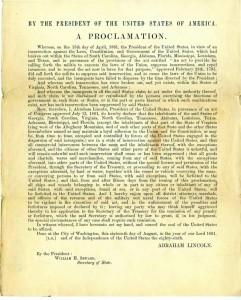 President Abraham Lincoln's Union Blockade Proclamations (Proclamations 86)