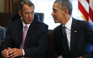 Speaker of the House John Boehner (R-OH) (L) talks to U.S. President Barack Obama during a meeting with bipartisan Congressional leaders in the Cabinet Room at the White House in Washington to discuss a military response to Syria, Tuesday. (REUTERS/Larry Downing)