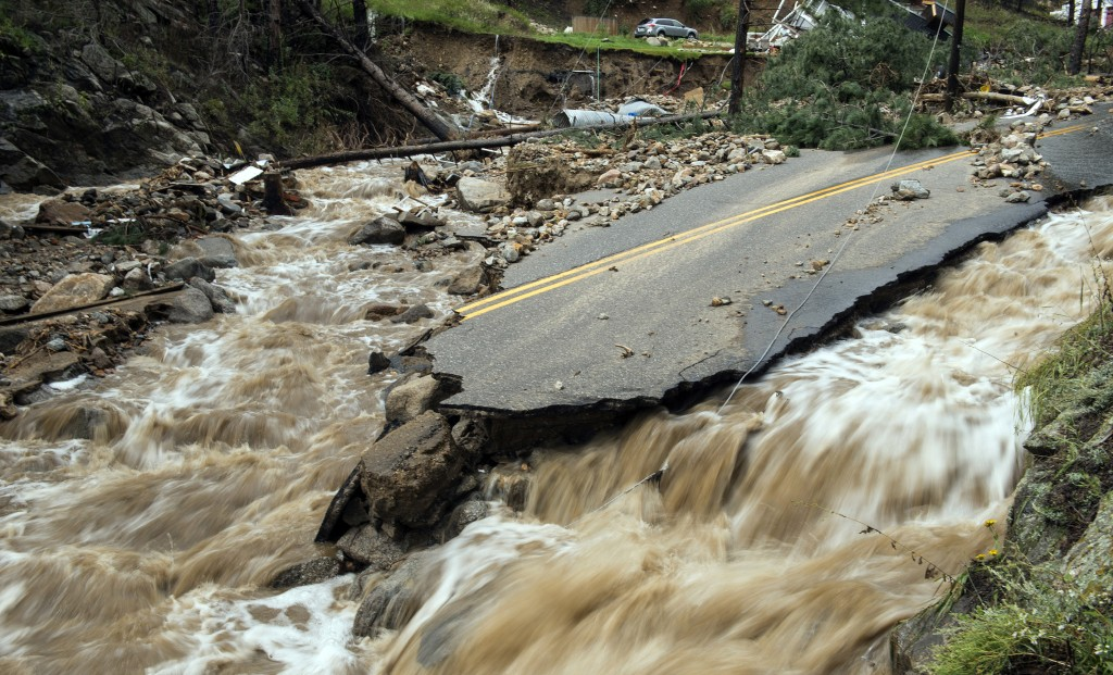 Destruction on Gold Run Creek north of Boulder, Colo. in the aftermath of flooding in the area that began Wednesday. (AP Photo/Earth Vision Trust, Matthew Kennedy)