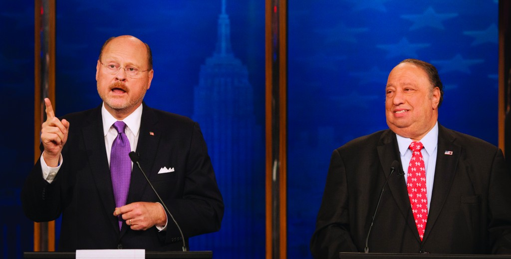 Republican candidates for mayor of New York Joe Lhota (L) and John Catsimatidis participate in a debate in New York, Sunday. The primary is Tuesday, Sept. 10, and the general election is Nov. 5. (AP Photo/Wall Street Journal, Andrew Hinderaker, Pool)