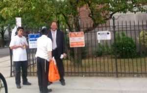 Councilman David Greenfield is seen at a polling station in Boro Park. (JDN)