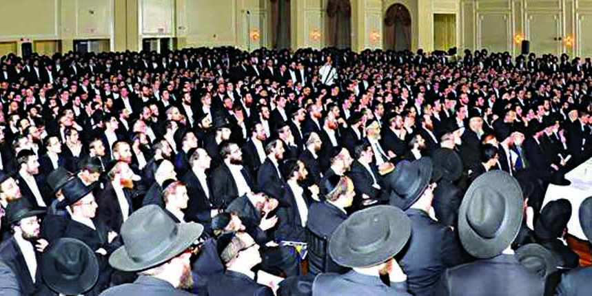 A partial view of the overflow crowd at the atzeres tefillah.