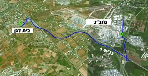 The route taken from Beit Dagan to Ben Gurion Airport.