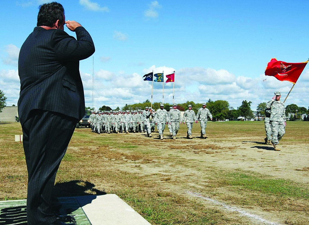 Gov. Christie attends the National Guard review in Sea Girt, N.J. Sunday. (Governor's Office/Tim Larsen)