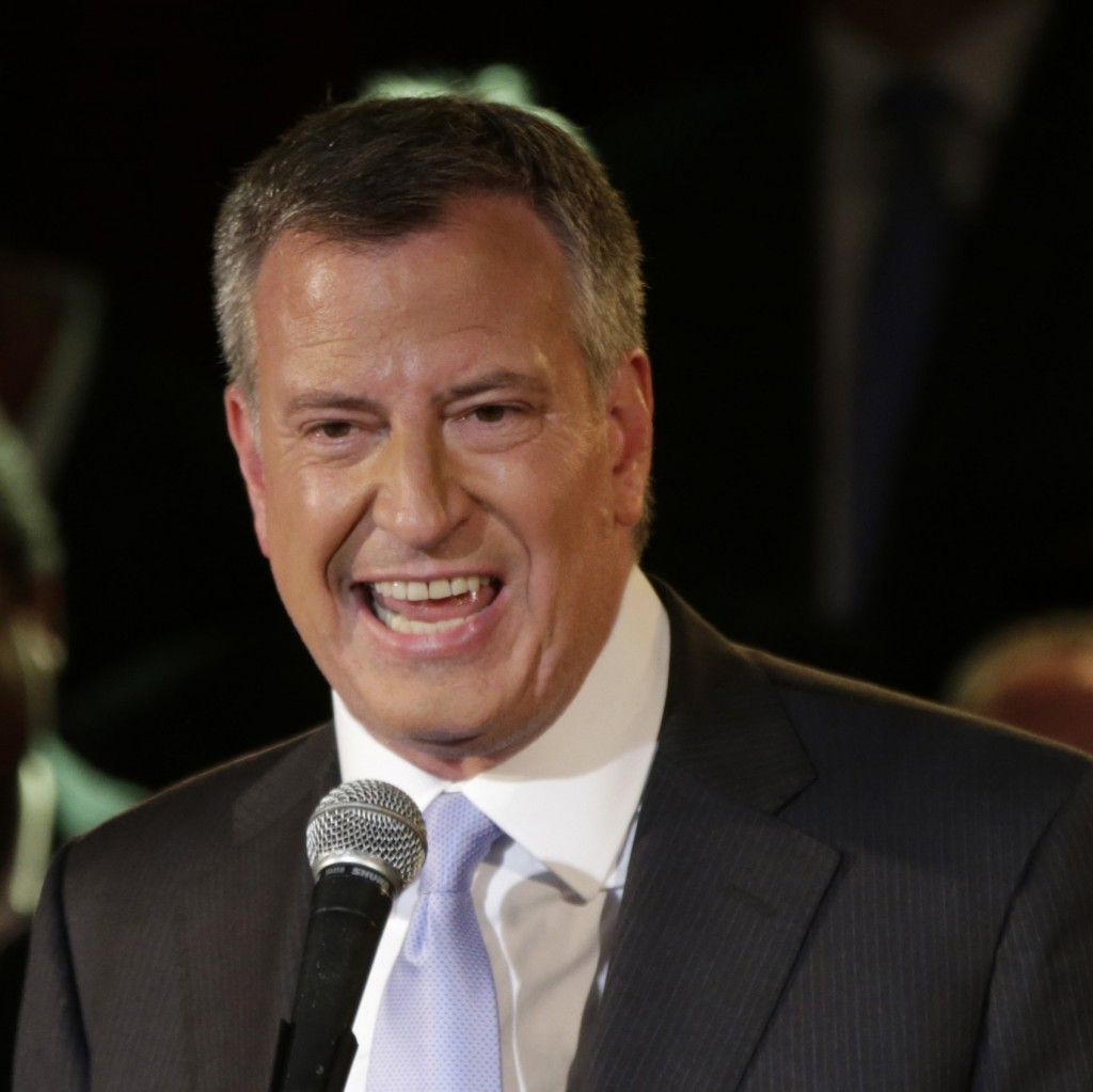 New York City Democratic Mayoral candidate Bill De Blasio speaks to supporters at his election headquarters after polls closed in the city's primary election Wednesday. (AP Photo/Kathy Willens)