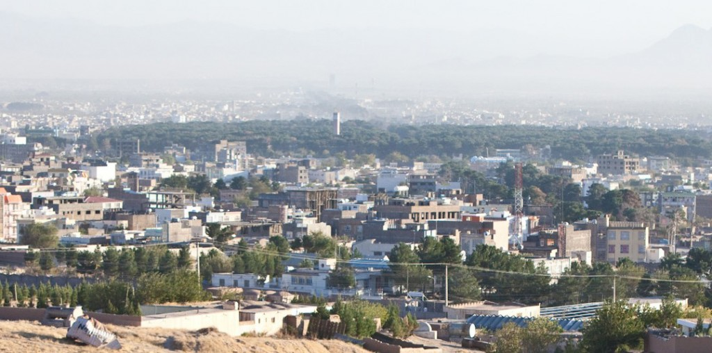 Aerial view of the western Afghan city of Herat, where Taliban terrorists staged a suicide car bombing then engaged in a gunfight with security forces near the American consulate early Friday morning. An Afghan translator was killed; several other people, including police, were wounded. (File Photo)