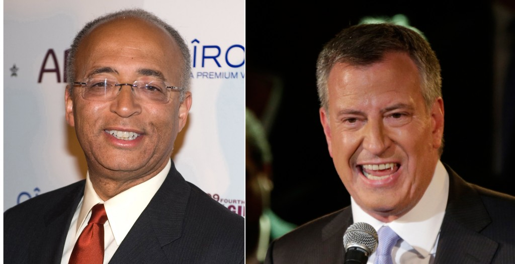 Bill Thompson, left, and Bill de Blasio, the two Democrats vying for their party's nomination for New York City mayor wait as city elections officials recanvass the 640,000 votes cast in Tuesday's primary. (AP Photos)