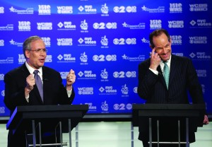 Manhattan borough president Scott Stringer (L), and former New York Gov. Eliot Spitzer (R), both Democrats, participate in a primary debate for New York City comptroller in the WCBS studios, Thursday, Aug. 22, in New York. (AP Photo/Frank Franklin II, Pool)